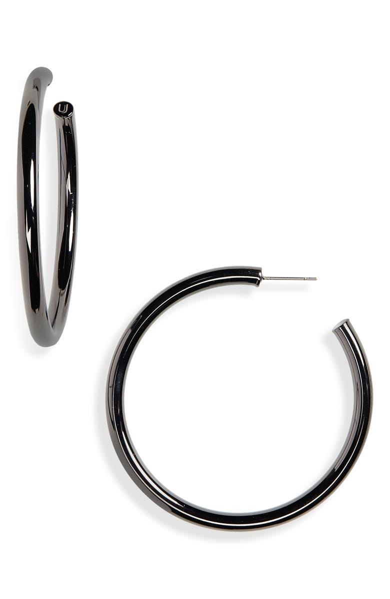 UNCOMMON JAMES BY KRISTIN CAVALLARI Uncommon James Gunmetal Hoop Earrings, Main, color, GUNMETAL