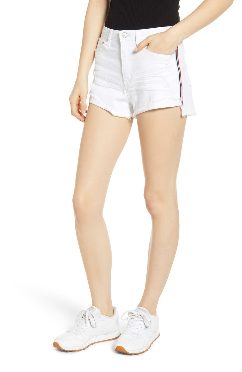 UNIONBAY Roxie Distressed Side Stripe Denim Shorts, Main, color, WHITE