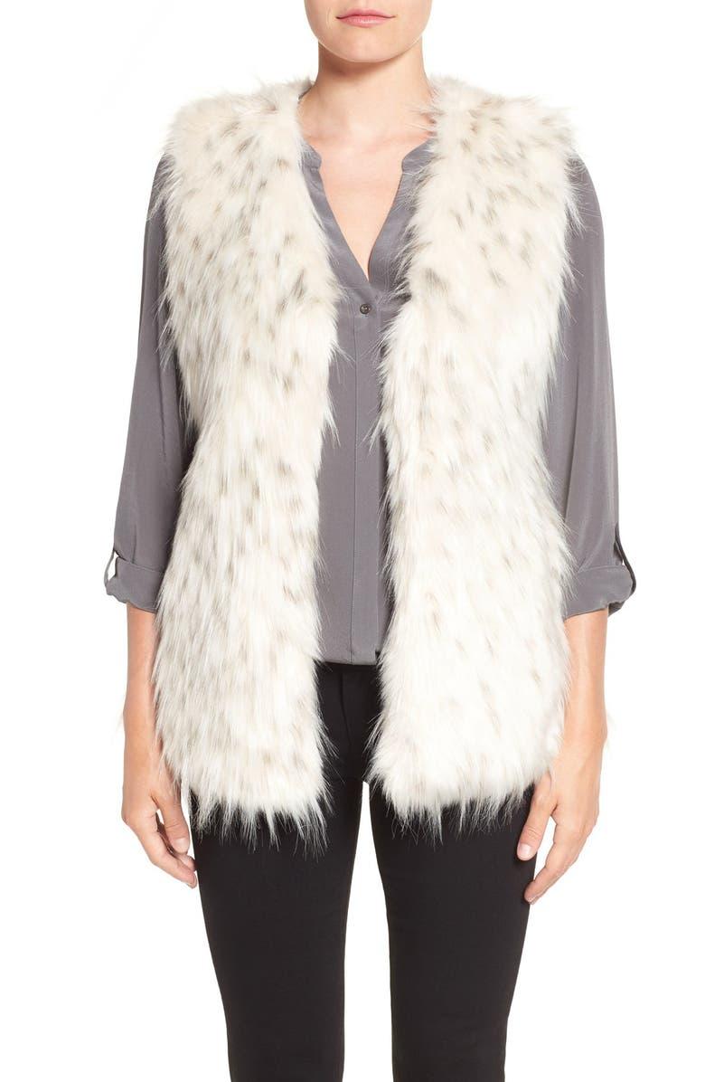VIA SPIGA Collarless Faux Fur Vest, Main, color, 134