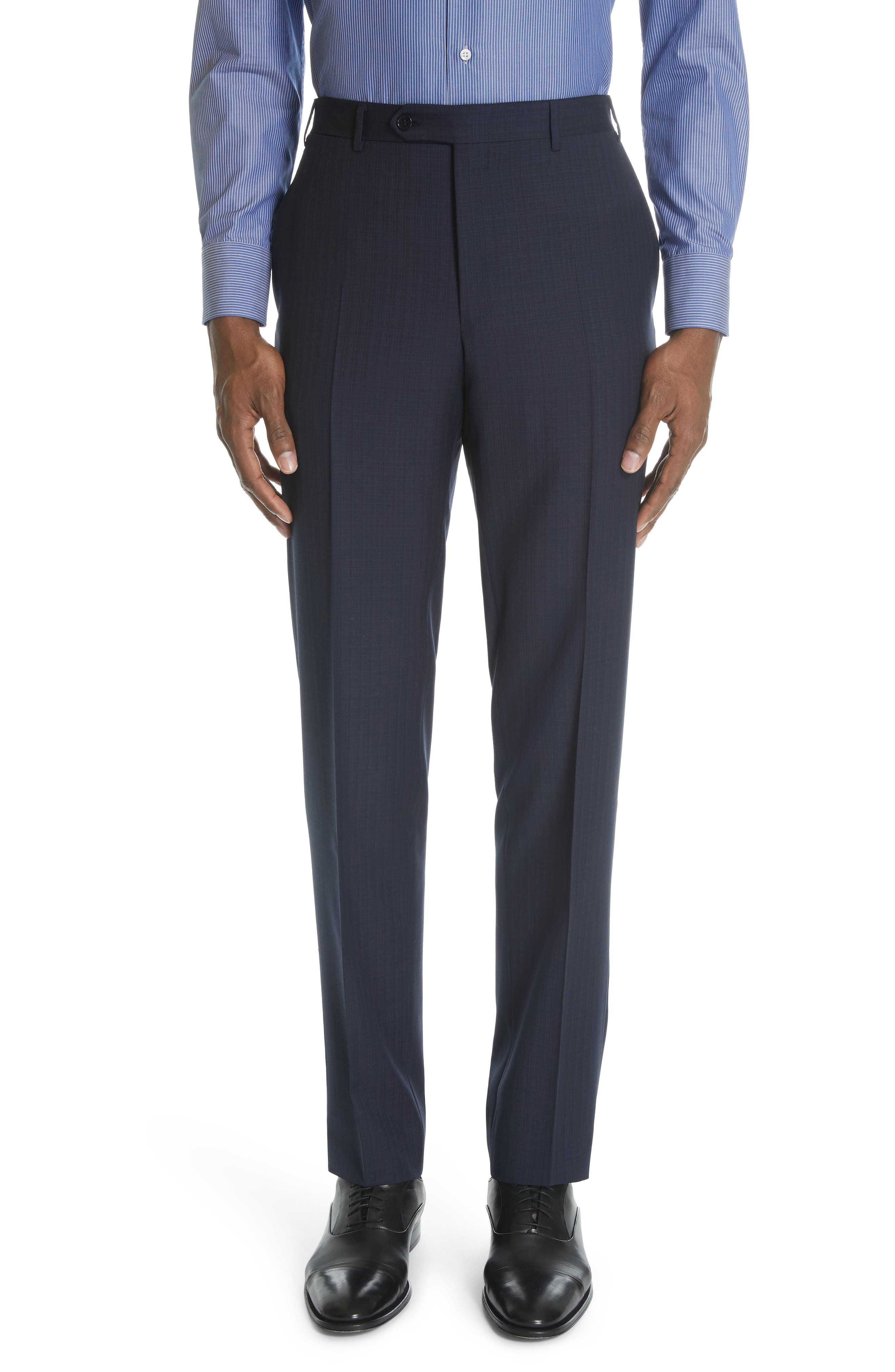 ,                             Siena Classic Fit Check Wool Suit,                             Alternate thumbnail 6, color,                             NAVY