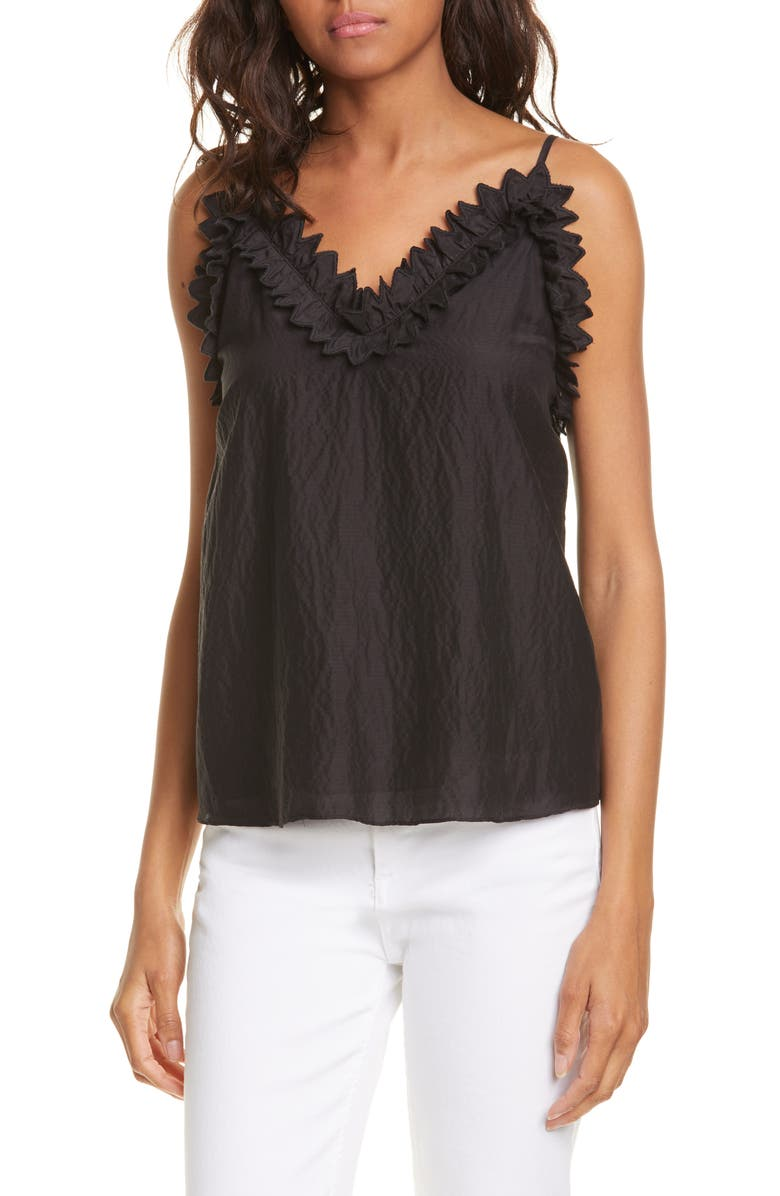 REBECCA TAYLOR Petal Embroidered Camisole, Main, color, 001