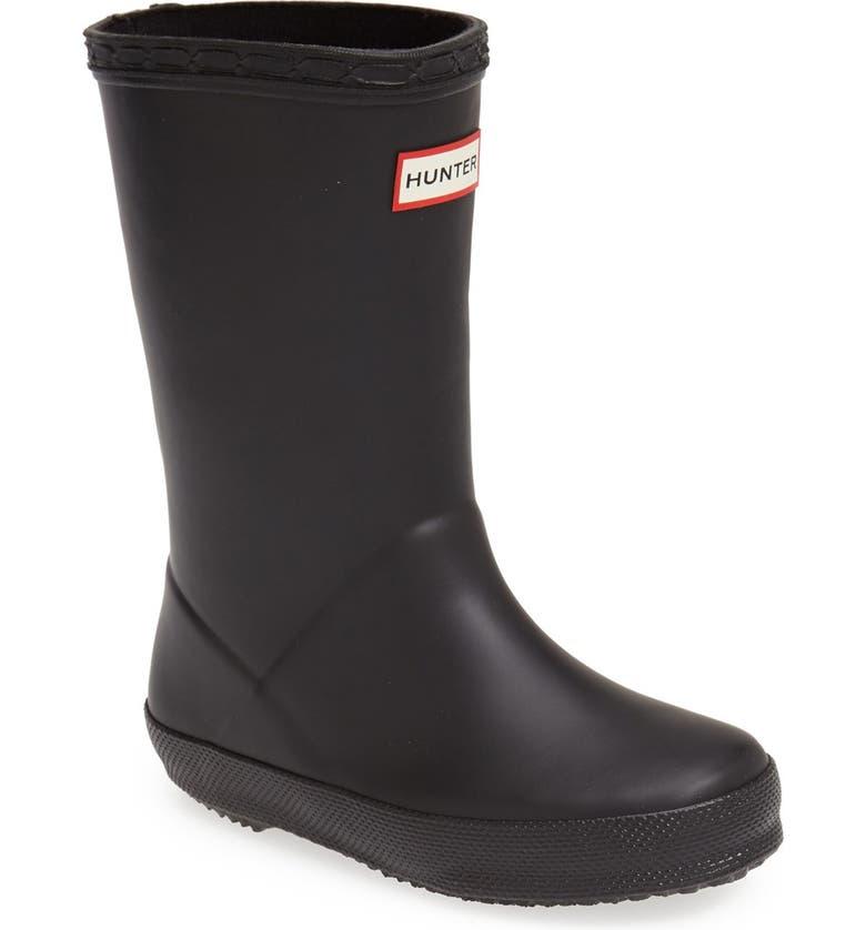 HUNTER First Classic Waterproof Rain Boot, Main, color, BLACK