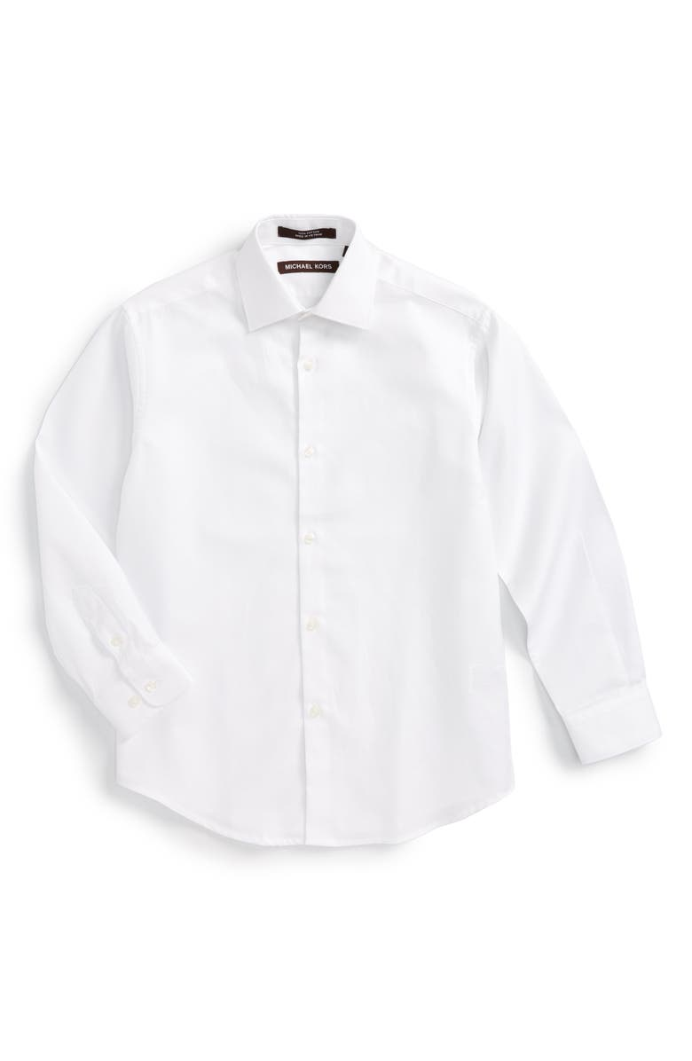MICHAEL KORS Solid Dress Shirt, Main, color, WHITE