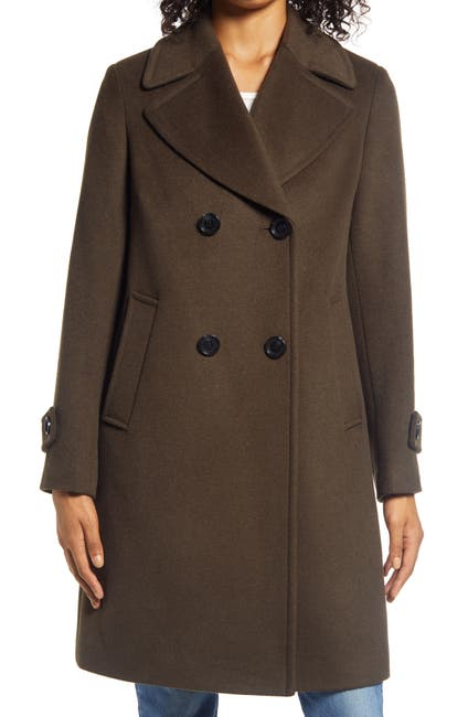 Image of Sam Edelman Double Breasted Wool Blend Twill Coat