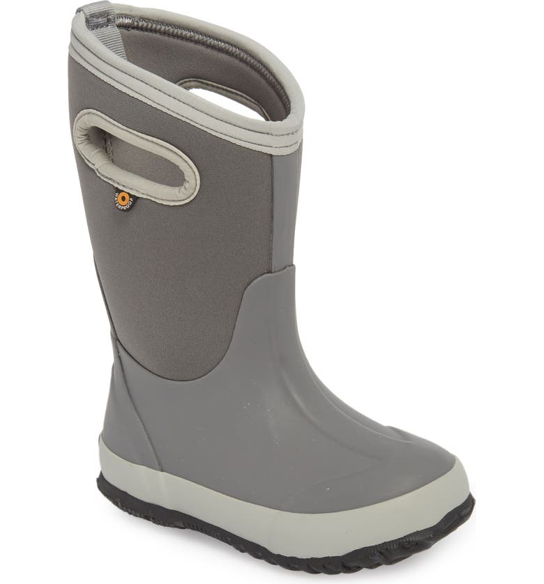 BOGS Classic Solid Insulated Waterproof Boot, Main, color, LIGHT GRAY