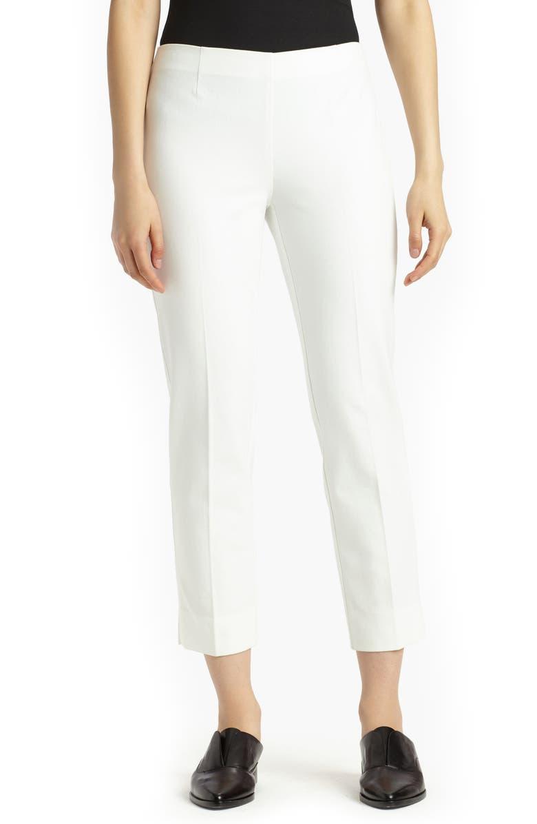 LAFAYETTE 148 NEW YORK Lexington Stretch Cotton Crop Pants, Main, color, WHITE
