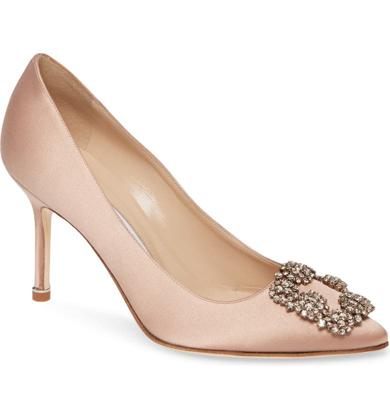 MANOLO BLAHNIK Hangisi Pump, Main, color, FLESH SATIN/ SILK BUCKLE