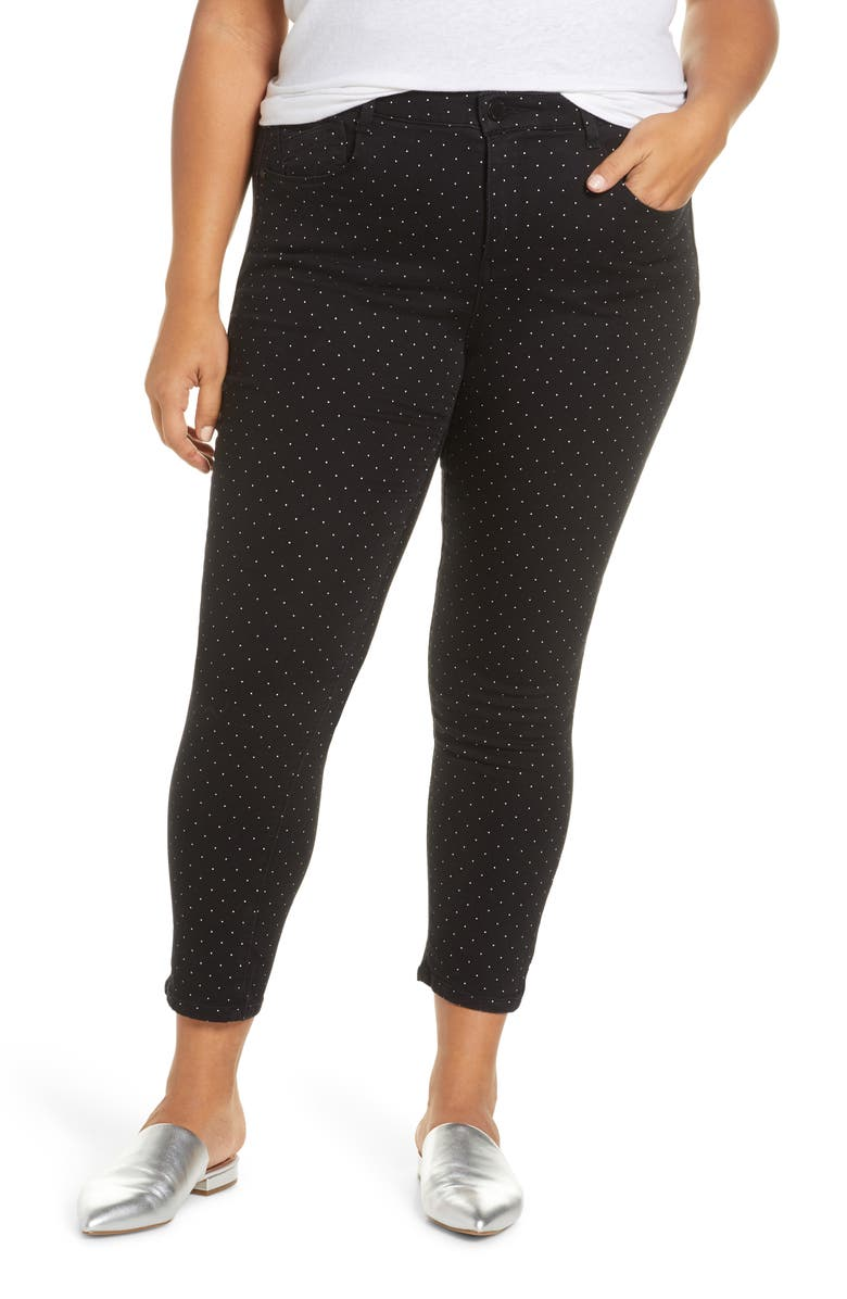 WIT & WISDOM Ab-Solution Micro Dot Ankle Jeans, Main, color, BLACK