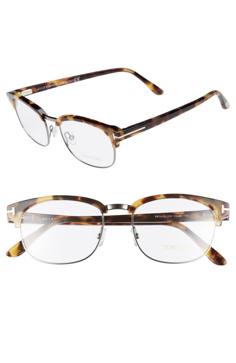 TOM FORD 53mm Optical Glasses, Main, color, SHINY TORTOISE