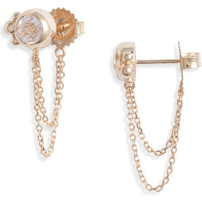 Anzie Bonheur White Topaz Chain Stud Earrings
