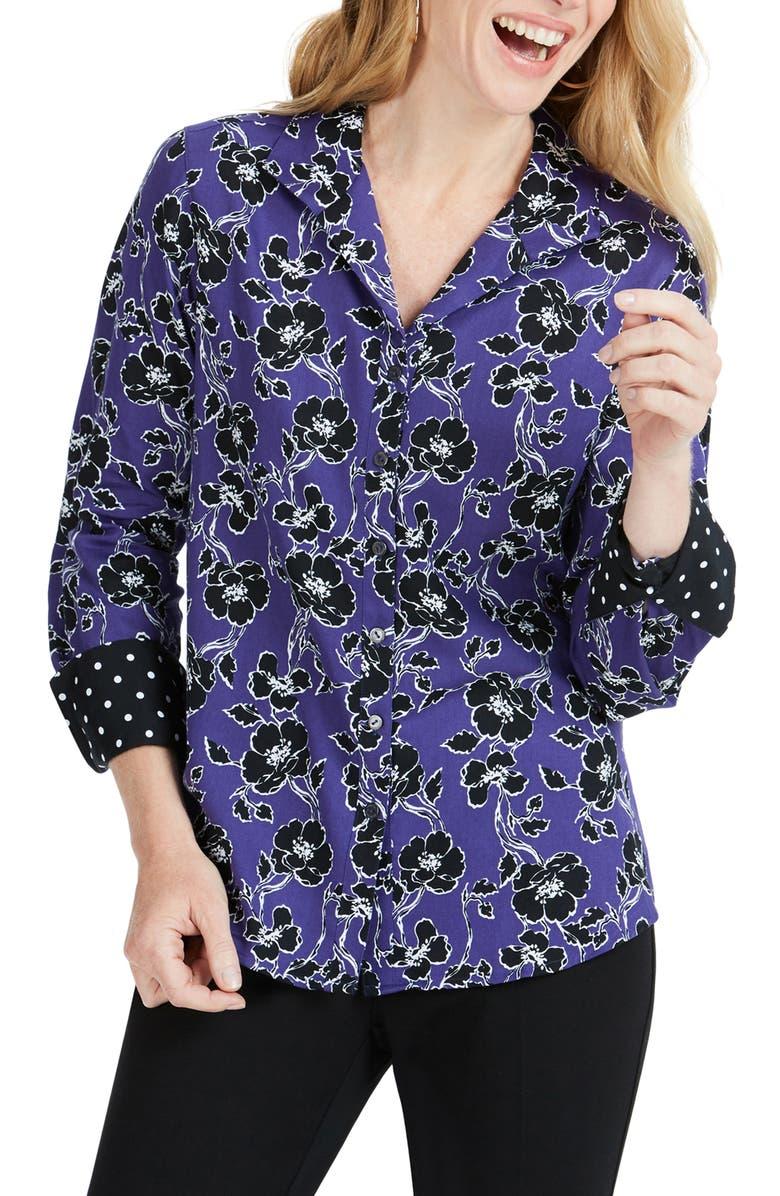 FOXCROFT Rhonda Holiday Floral Shirt, Main, color, REGAL PURPLE