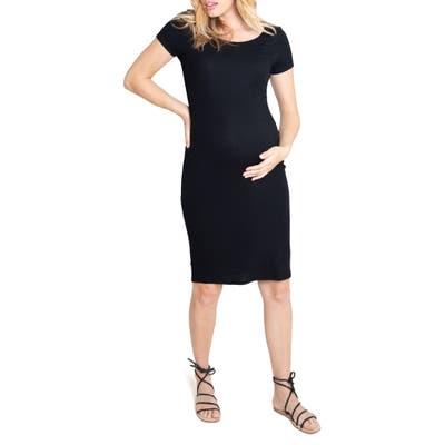 Ingrid & Isabel Short Sleeve Maternity Dress, Black