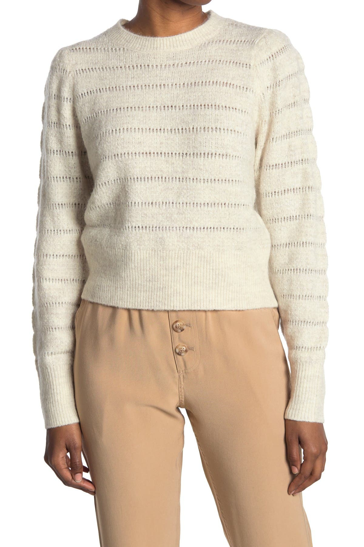 Image of Elodie Textured Crew Neck Knit Sweater