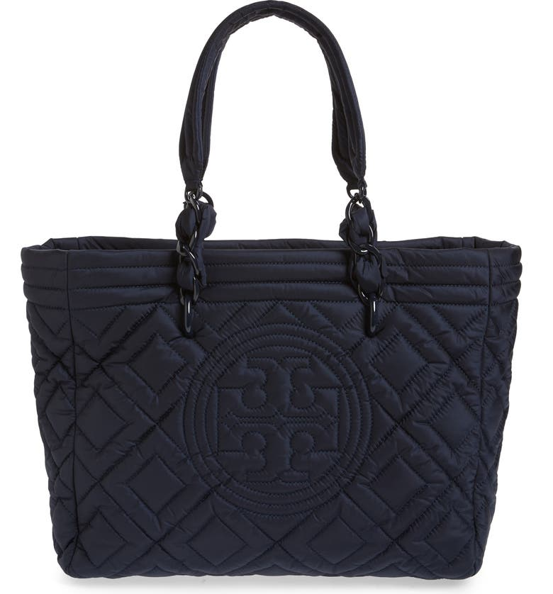 TORY BURCH Small Fleming Quilted Nylon Tote, Main, color, ROYAL NAVY