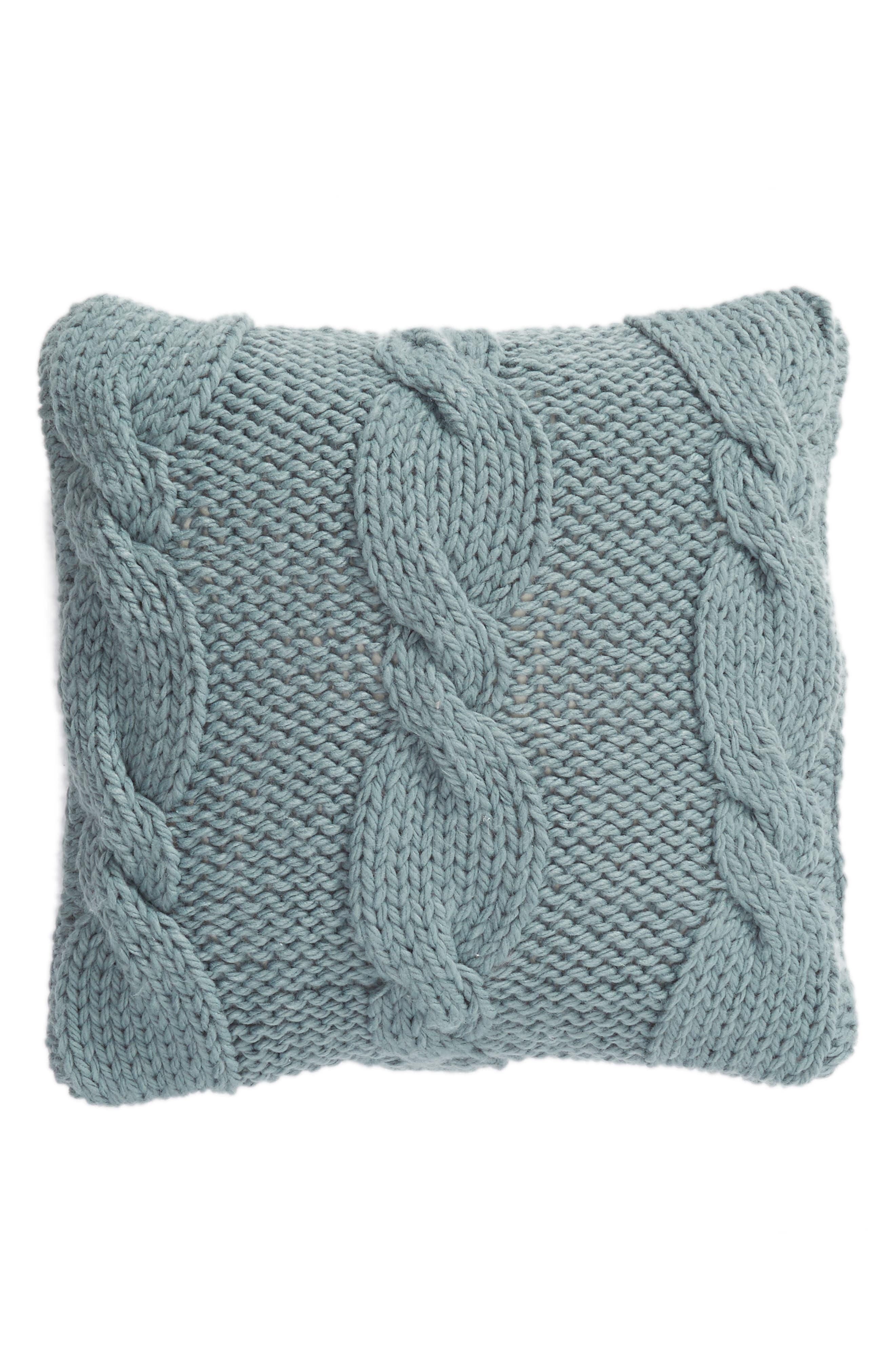,                             Cable Knit Accent Pillow,                             Main thumbnail 1, color,                             BLUE TROOPER