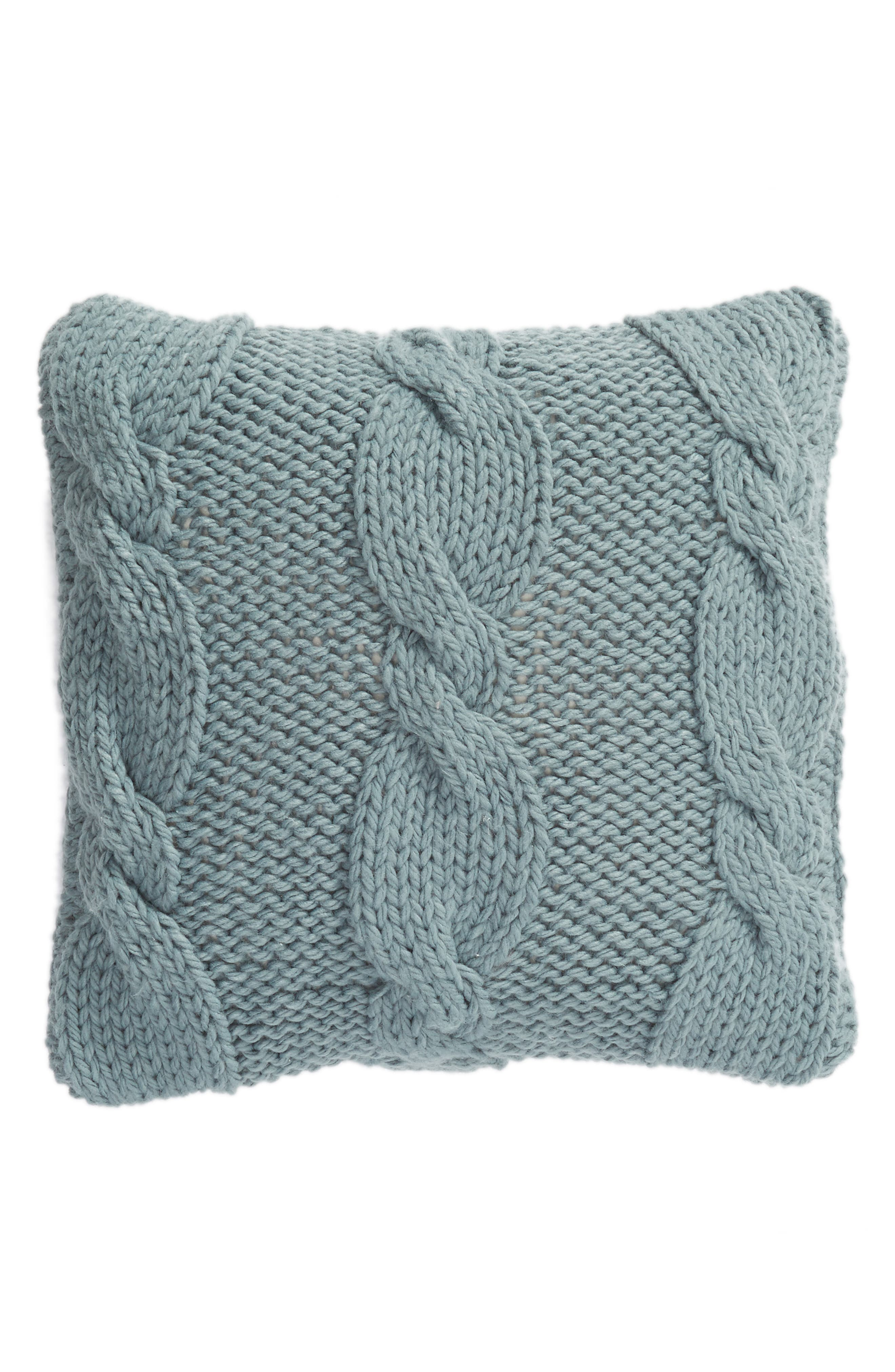 Cable Knit Accent Pillow, Main, color, BLUE TROOPER
