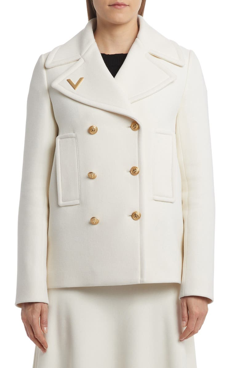 VALENTINO Fitted Wool Peacoat, Main, color, AVORIO