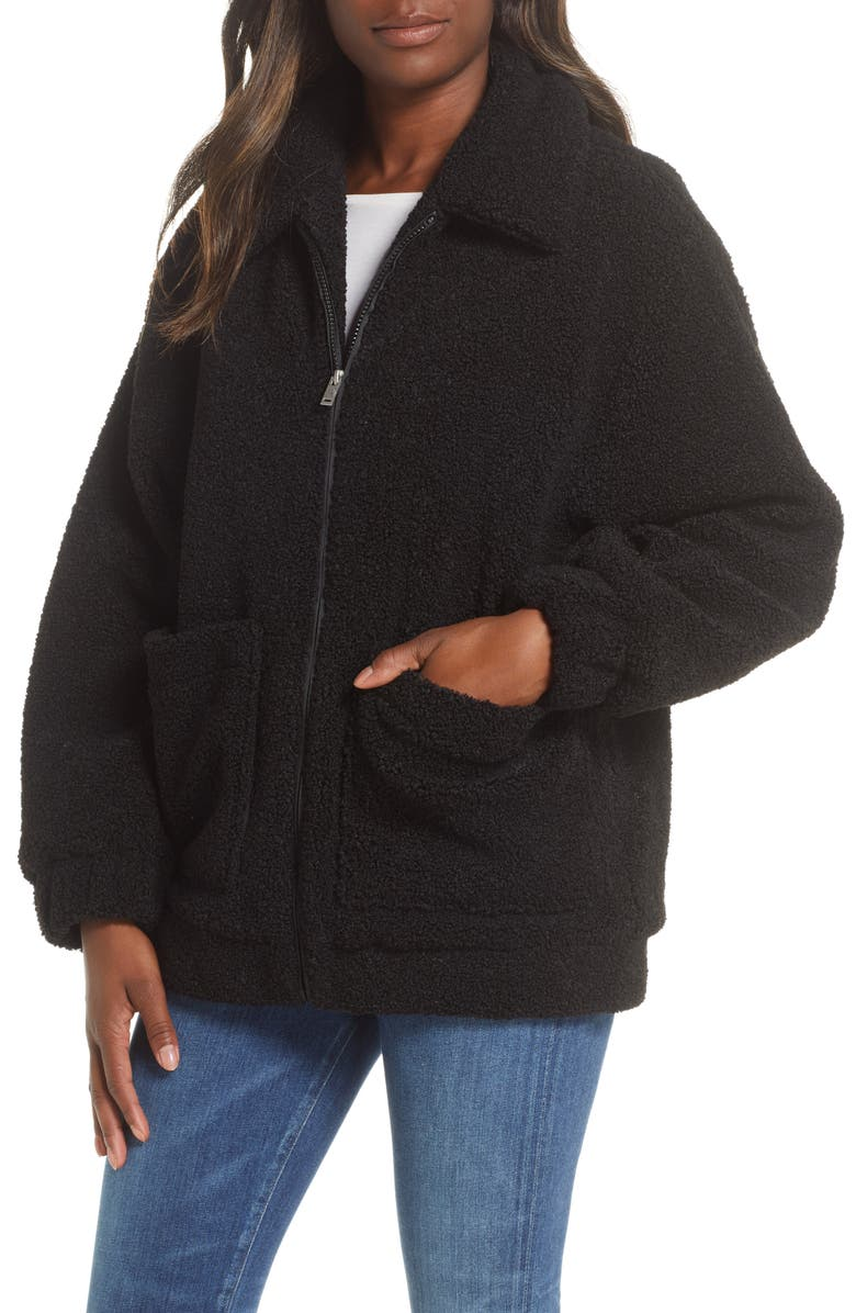 UGG<SUP>®</SUP> Jackeline Teddy Bear Jacket, Main, color, BLACK