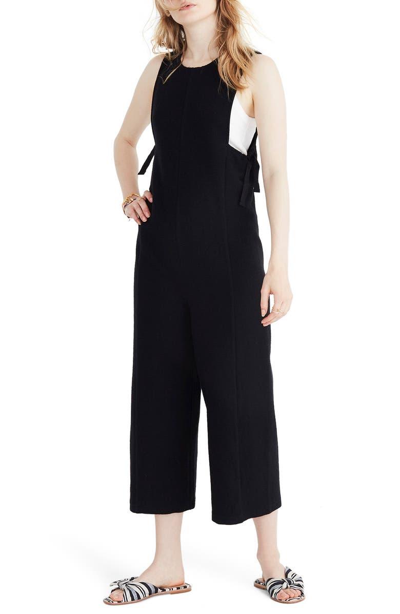 MADEWELL Texture & Thread Side Tie Jumpsuit, Main, color, 001