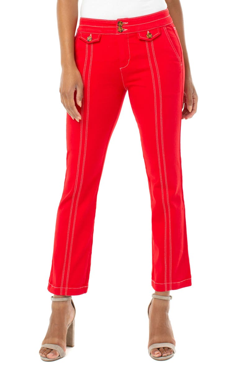 LIVERPOOL High Waist Topstitch Detail Crop Flare Jeans, Main, color, RED GINGER