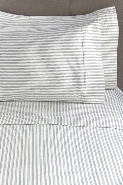 Image of Melange Home King 400 Thread Count Cotton Bamboo Stripe Sheet 4-Piece Set