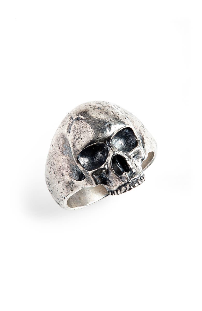 JOHN VARVATOS Skull Ring, Main, color, METALLIC SILVER
