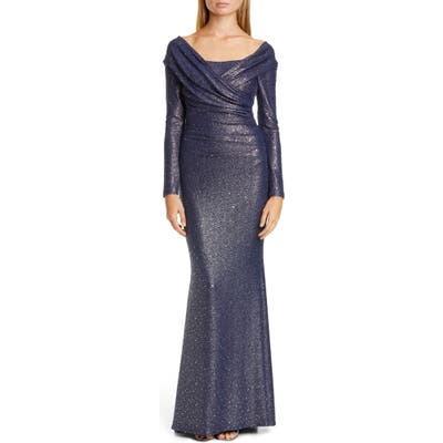 Talbot Runhof Sequin Glitter Long Sleeve Mermaid Gown, Blue
