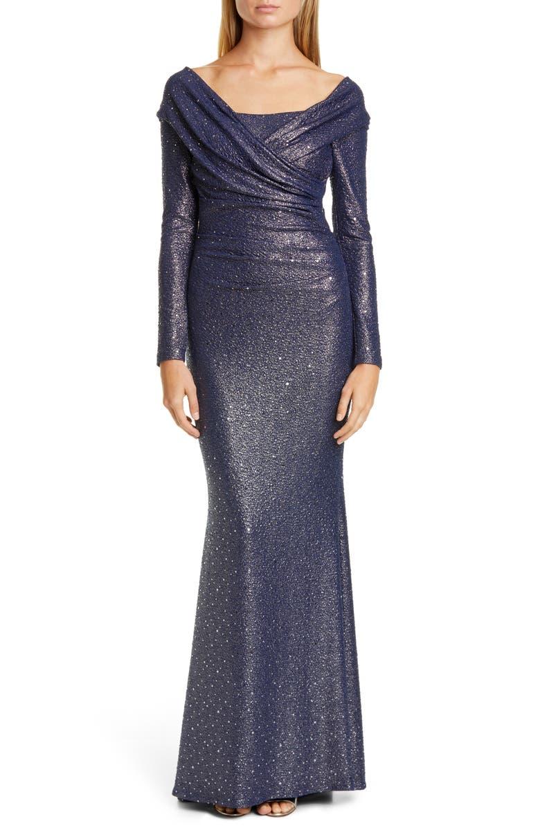 TALBOT RUNHOF Sequin Glitter Long Sleeve Mermaid Gown, Main, color, ROYAL