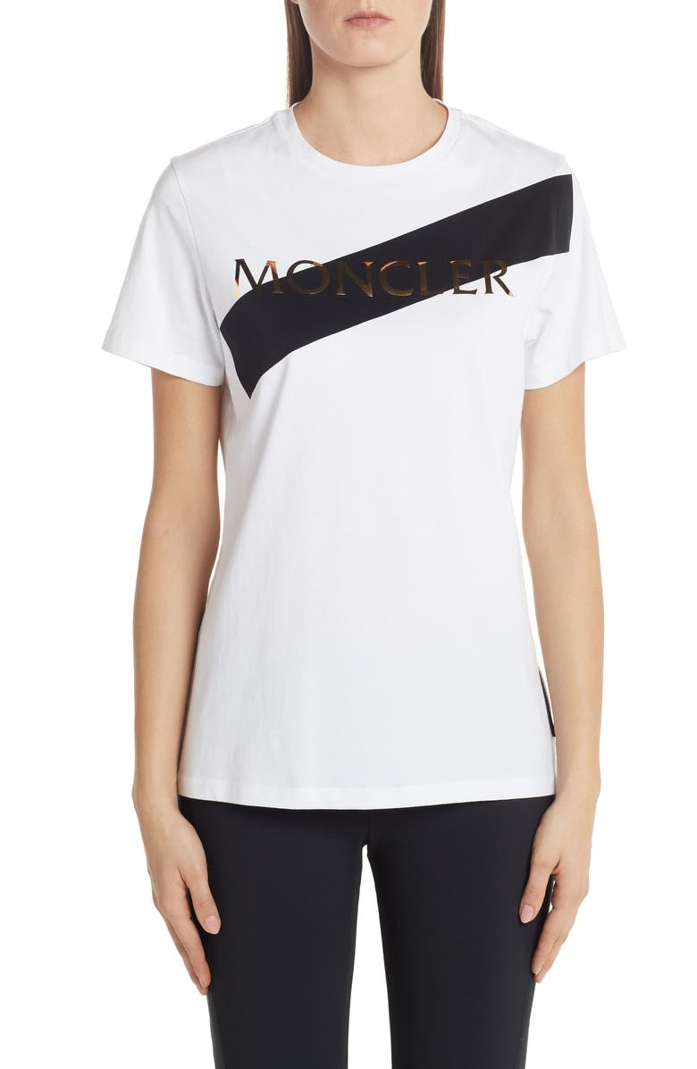 MONCLER Logo Tee, Main, color, WHITE