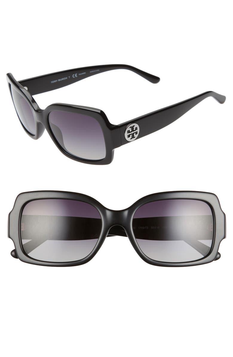 TORY BURCH 55mm Polarized Square Sunglasses, Main, color, BLACK/ GREY GRADIENT