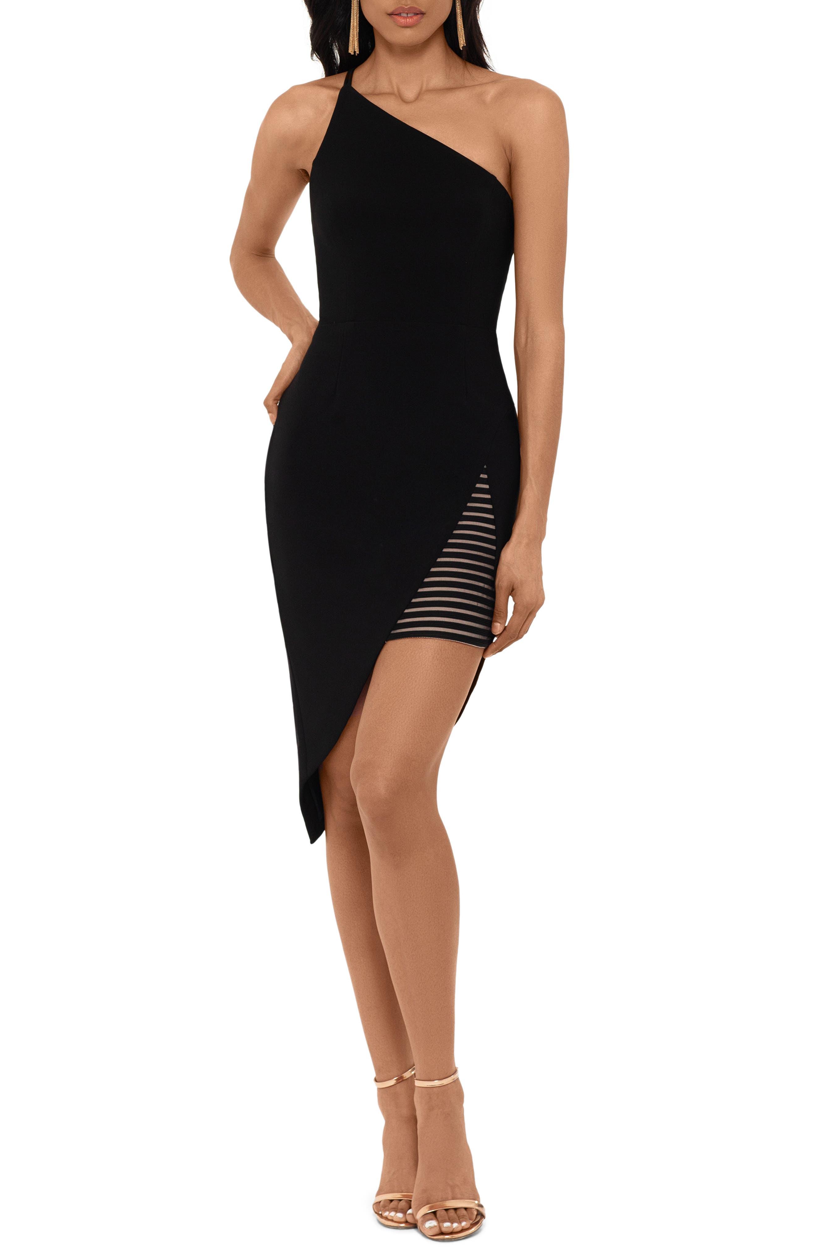 Xscape One-Shoulder Asymmetrical Hem Body-Con Dress, Black