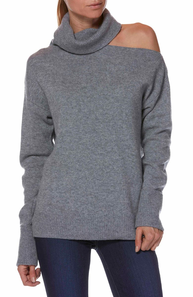 PAIGE Raundi Cutout Shoulder Sweater, Main, color, HEATHER GREY