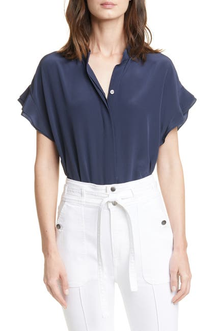 Image of FRAME Silk Flounce Short Sleeve Top