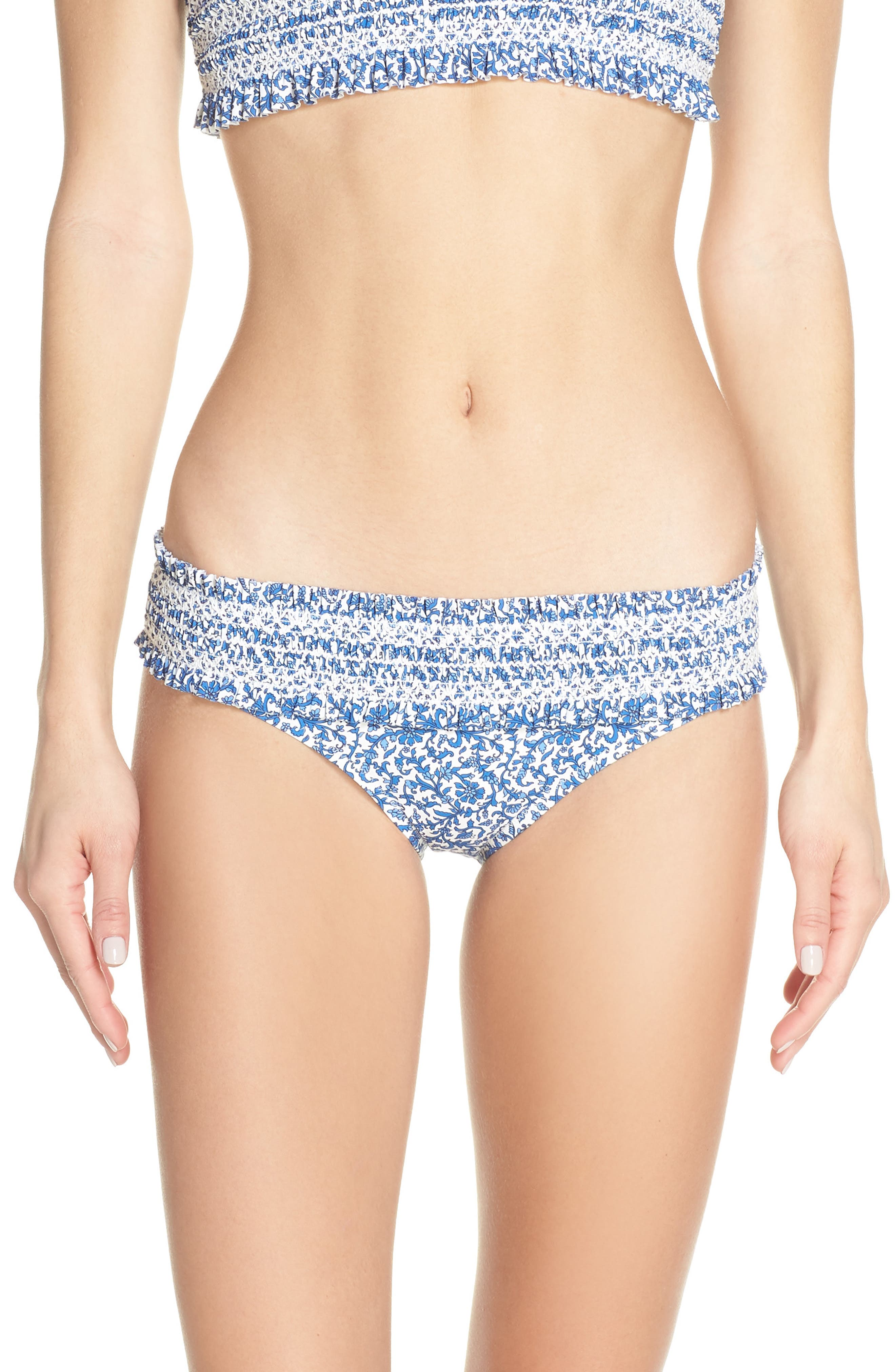 Tory Burch Costa Smocked Bikini Bottoms, Blue