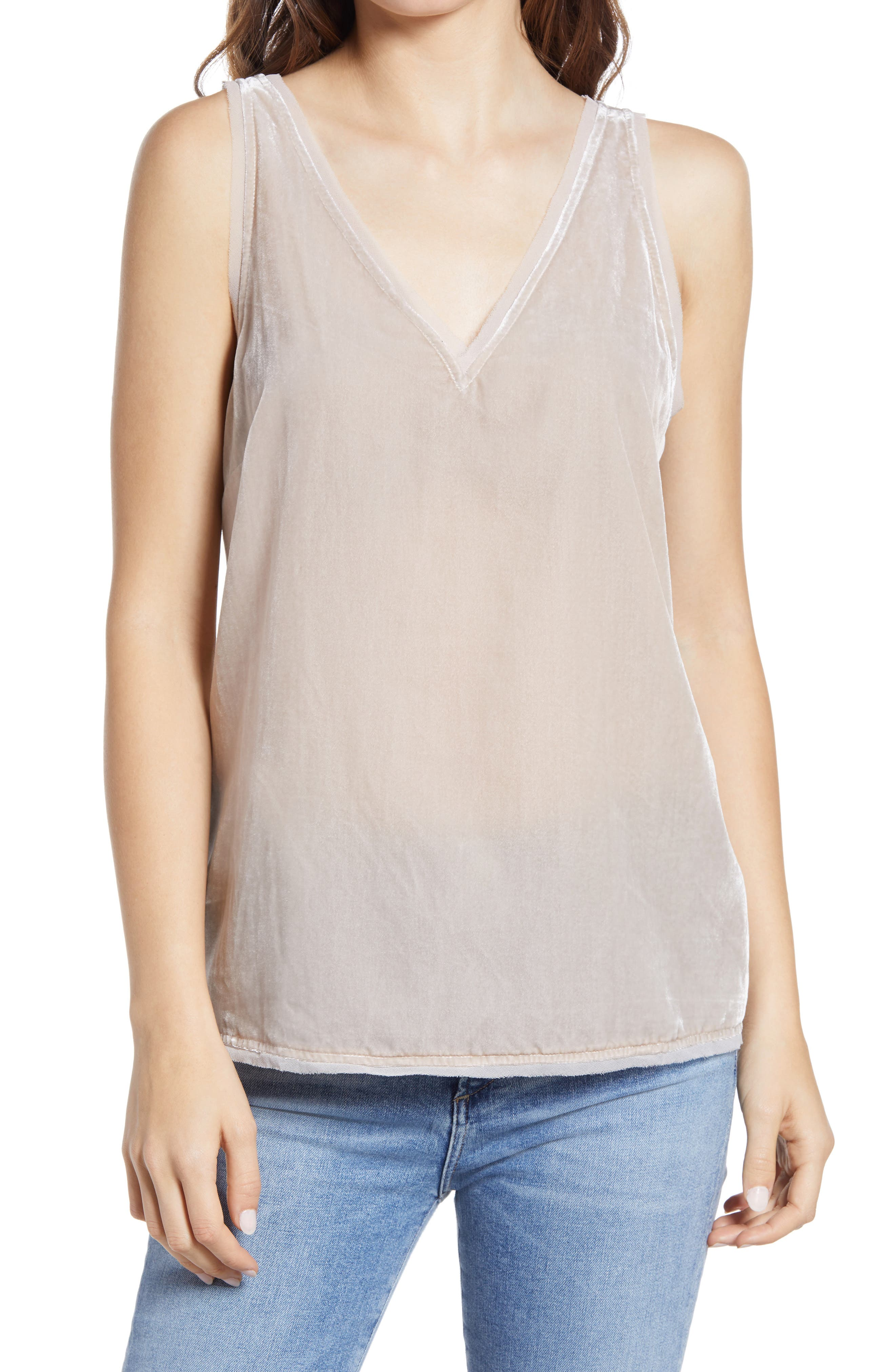 Image of Chelsea28 Velvet Raw Edge Tank