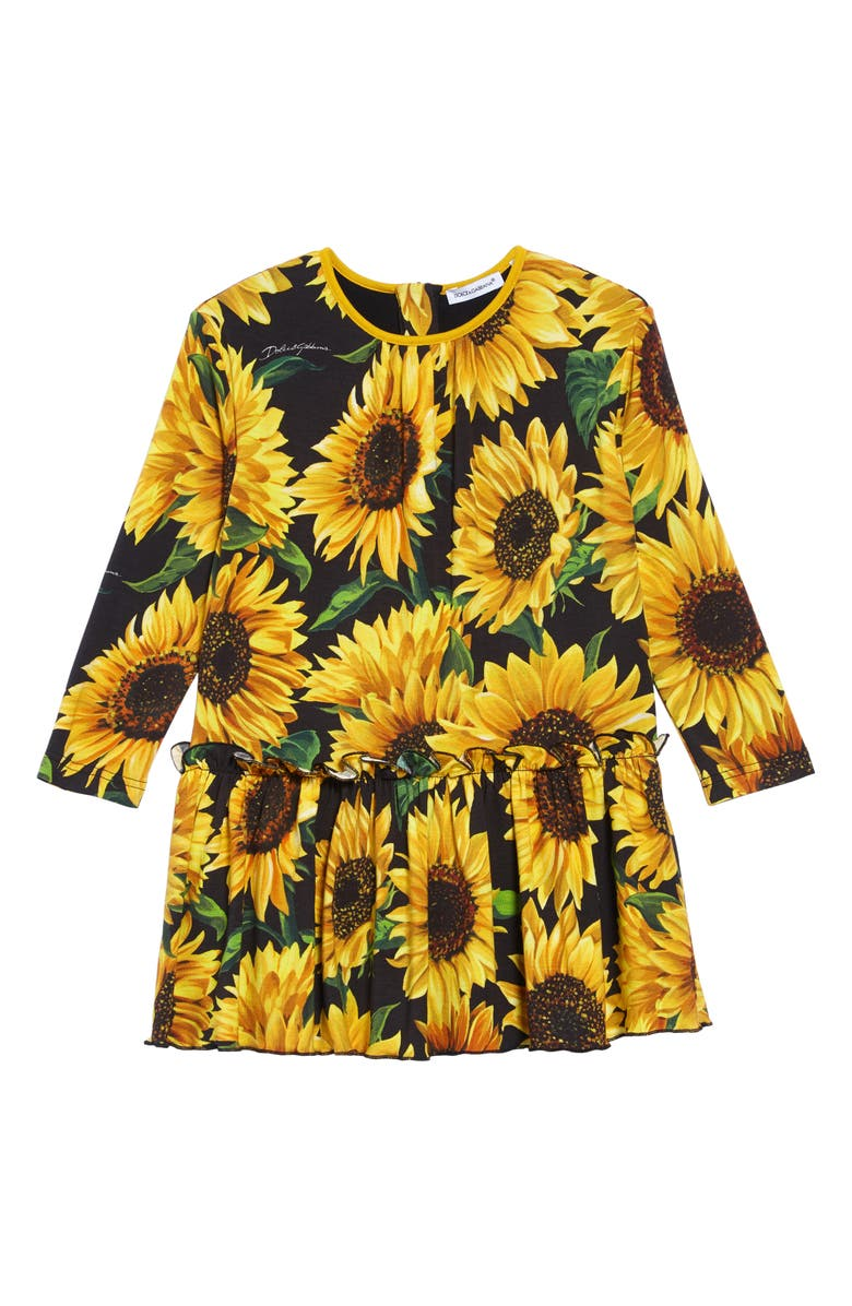 DOLCE&GABBANA Sunflower Print Dress, Main, color, SUNFLOWER PRINT