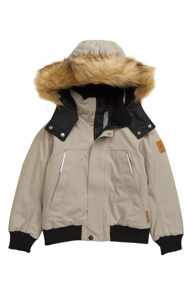 REIMA Reimatec<sup>®</sup> Faux Fur Trim Waterproof Winter Jacket, Main, color, BROWN