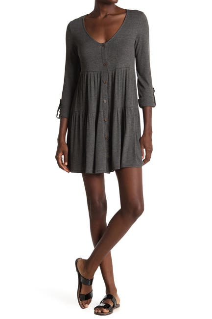 Image of KENEDIK Button Front Ribbed Tiered Mini Dress