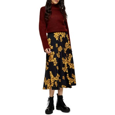 Topshop Floral Print Midi Skirt, US (fits like 0-2) - Yellow
