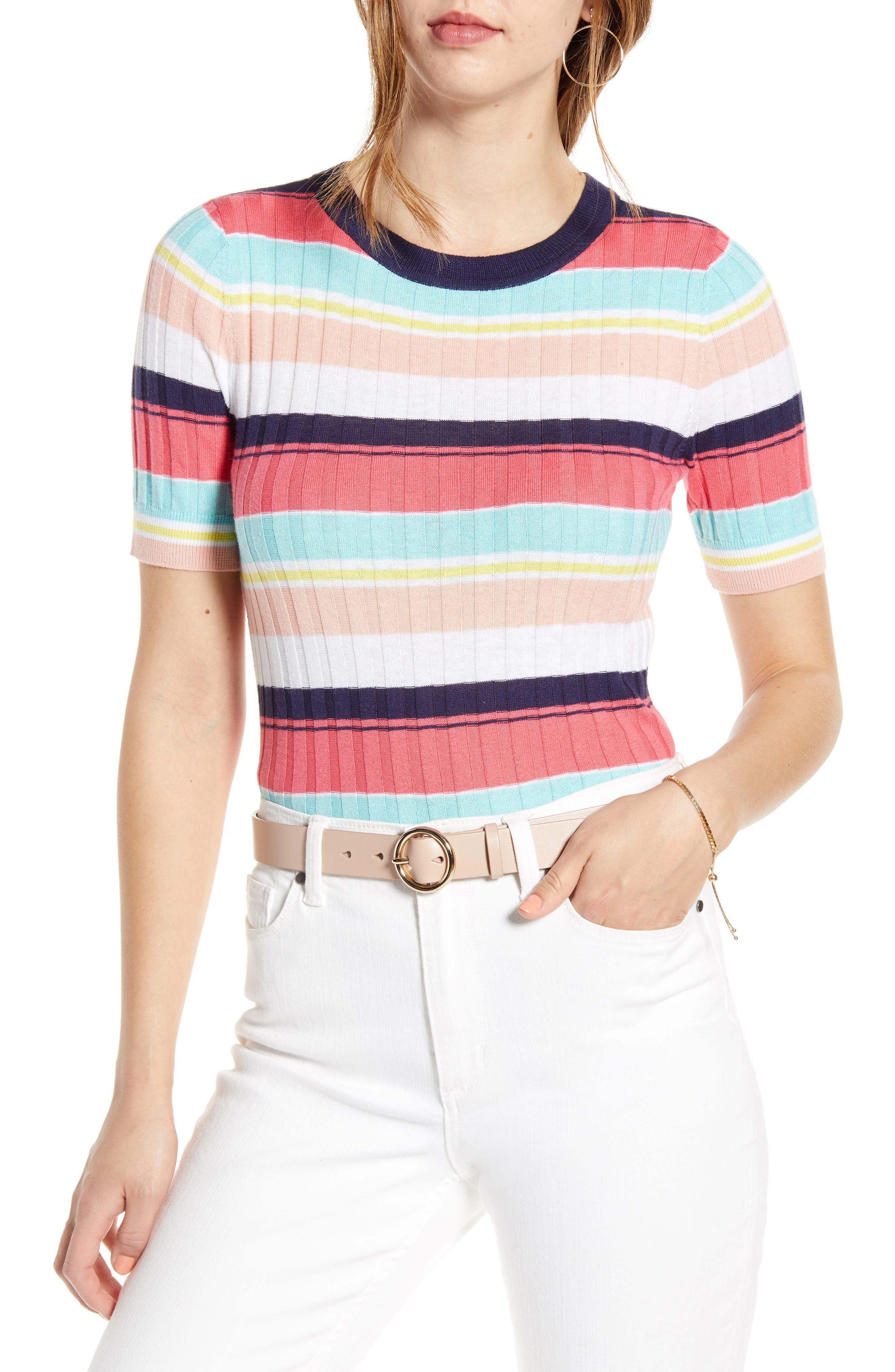 1901 Multistripe Short Sleeve Ribbed Sweater, Pink