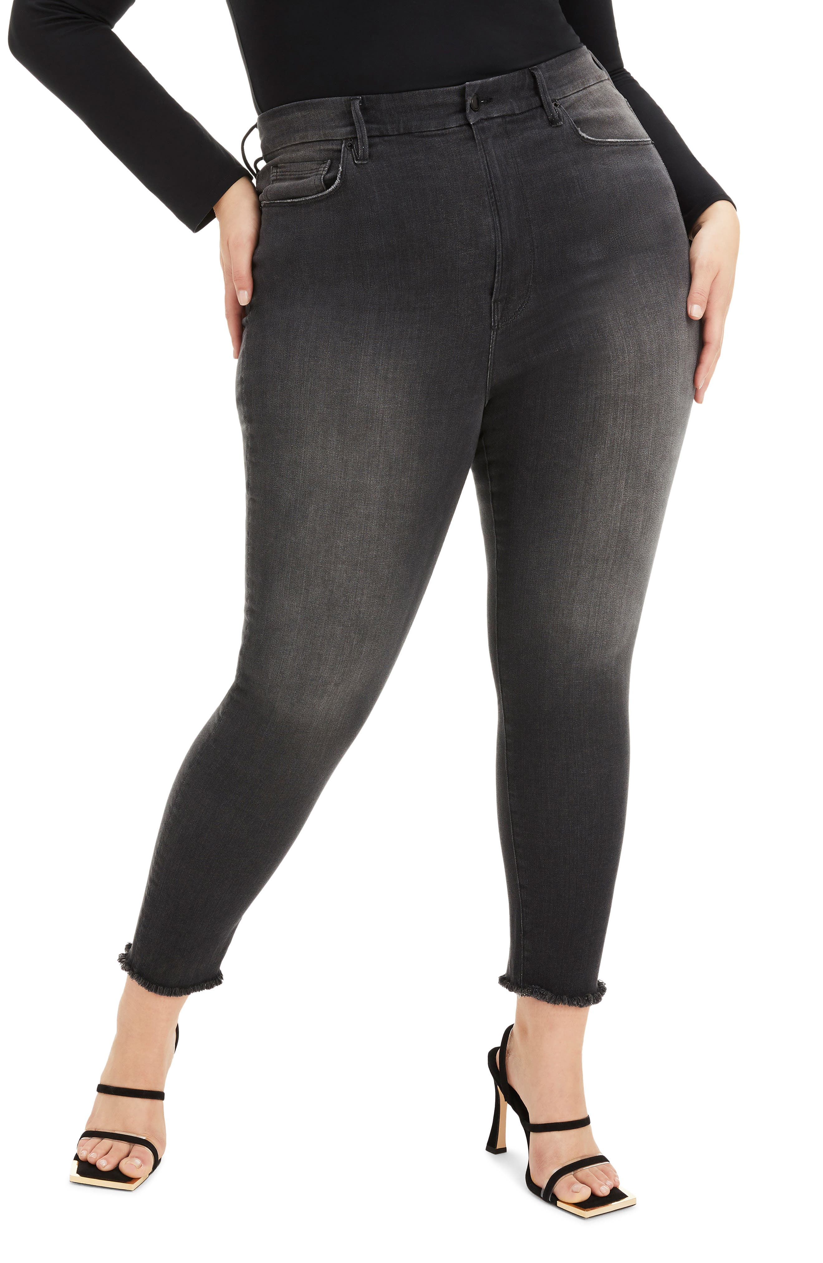 Plus Women's Good American Good Waist Fray Hem Crop Skinny Jeans