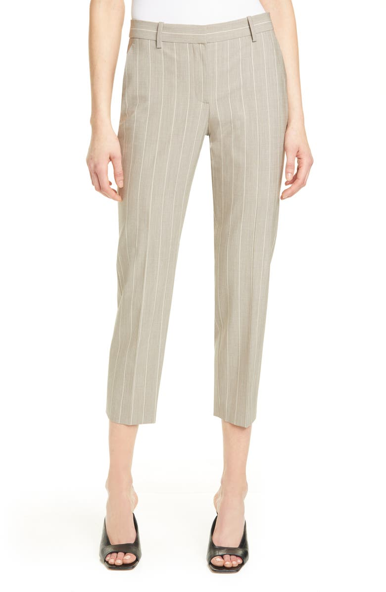 THEORY Treeca 2 Pinstripe Stretch Wool Crop Trousers, Main, color, 020