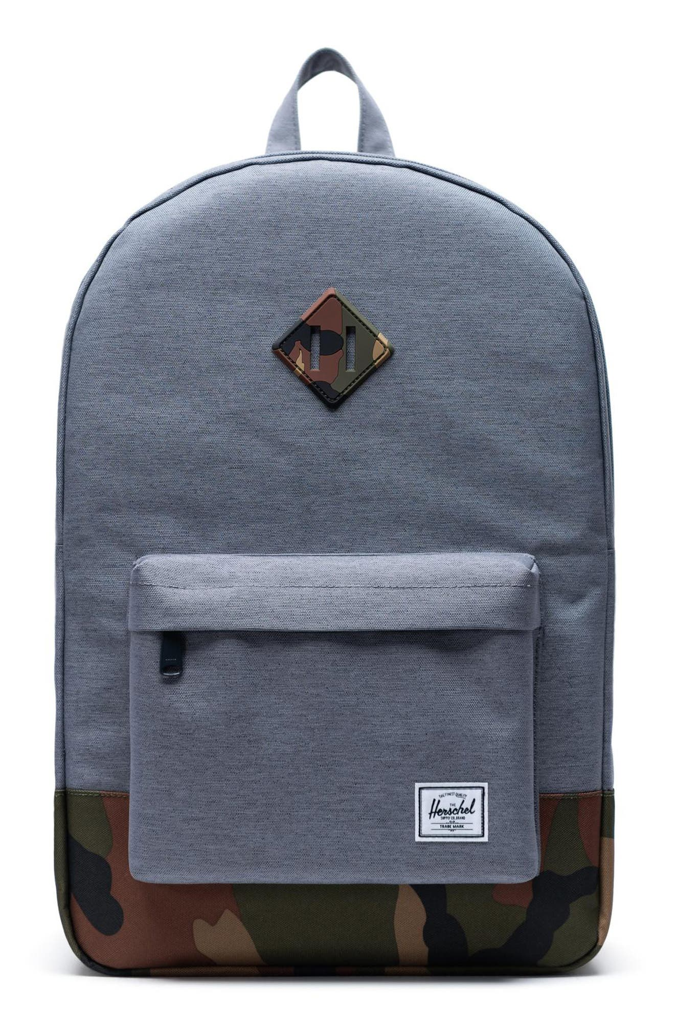 ,                             Heritage Camo Trim Backpack,                             Main thumbnail 1, color,                             GREY CROSSHATCH/WOODLAND CAMO