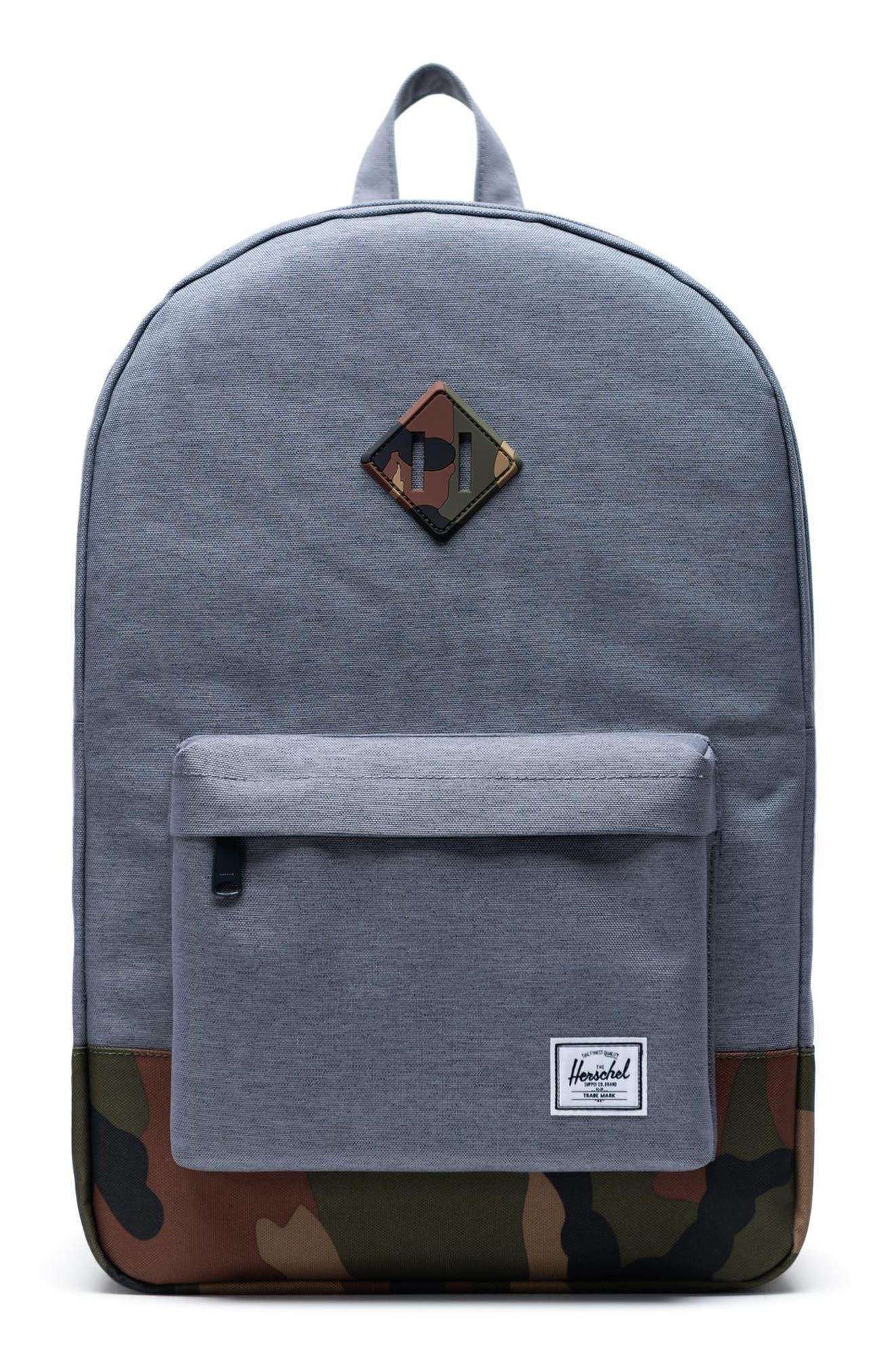 Heritage Camo Trim Backpack, Main, color, GREY CROSSHATCH/WOODLAND CAMO