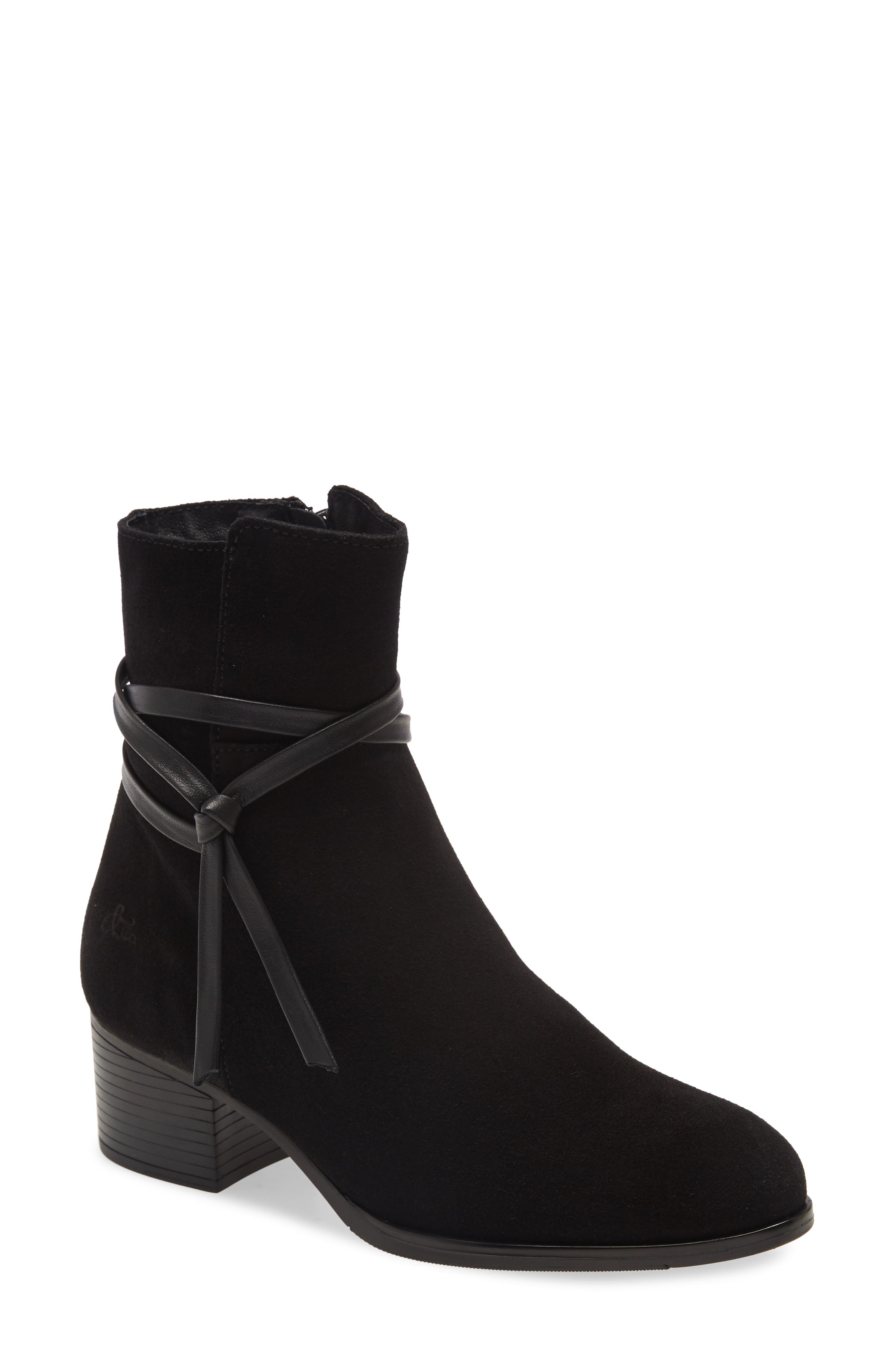 A slim wraparound strap provides a polished finish for a block-heel bootie that\\\'s a fuss-free waterproof standby. Style Name: Bos. & Co. Reveal Waterproof Bootie (Women). Style Number: 6086163. Available in stores.