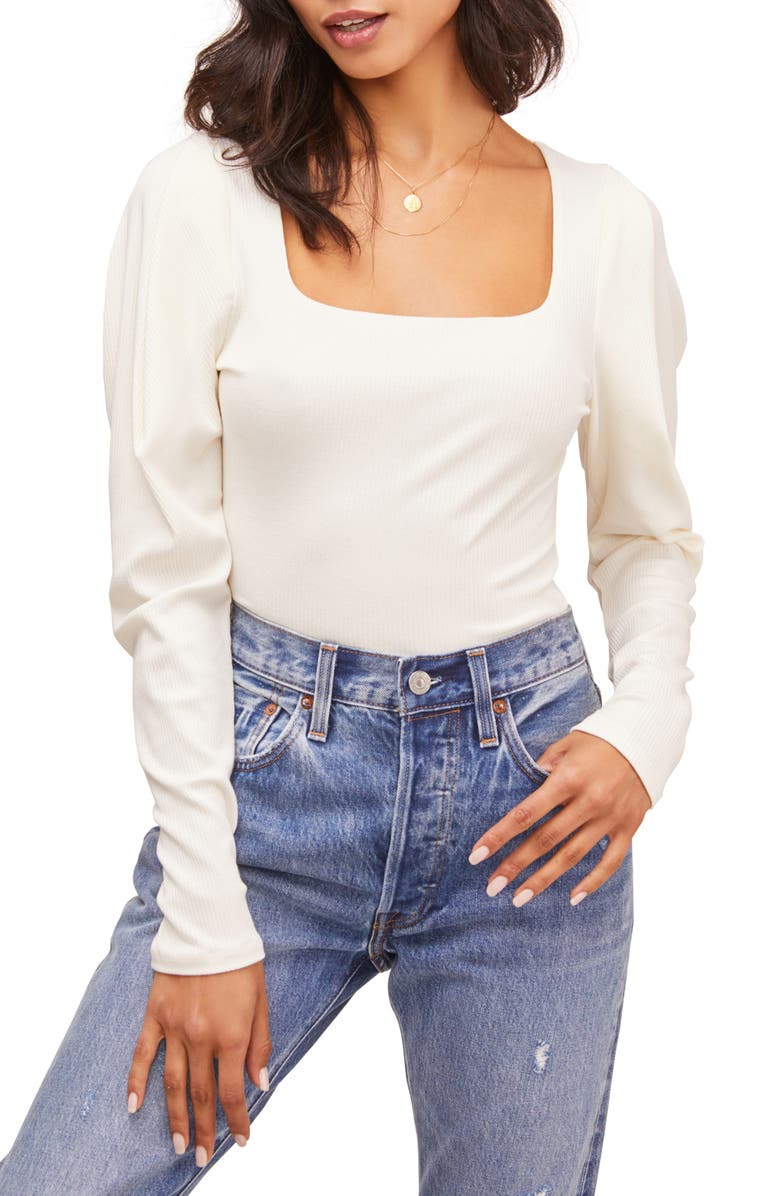 ASTR THE LABEL Ribbed Puff Sleeve Bodysuit, Main, color, IVORY