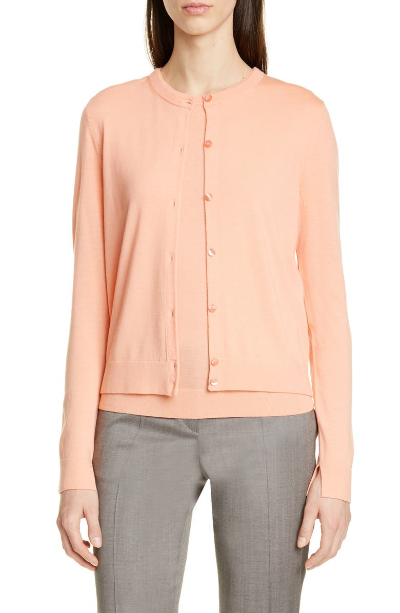 BOSS Fovetexa Wool Cardigan, Main, color, BRIGHT PEACH