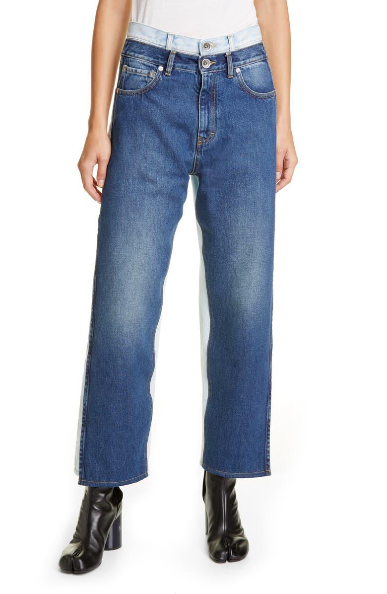 MAISON MARGIELA Trompe l'Oeil Layered Waist Wide Leg Crop Jeans, Main, color, BLUE DENIM