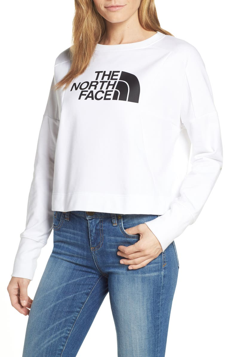 THE NORTH FACE Train-N Logo Crop Pullover, Main, color, TNF WHITE