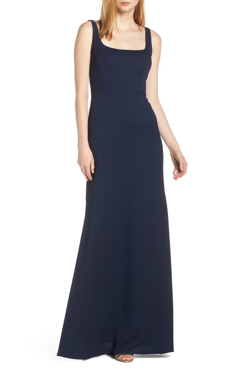 Hayley Paige Occasions Square Neck Tie Back Crepe Evening Dress